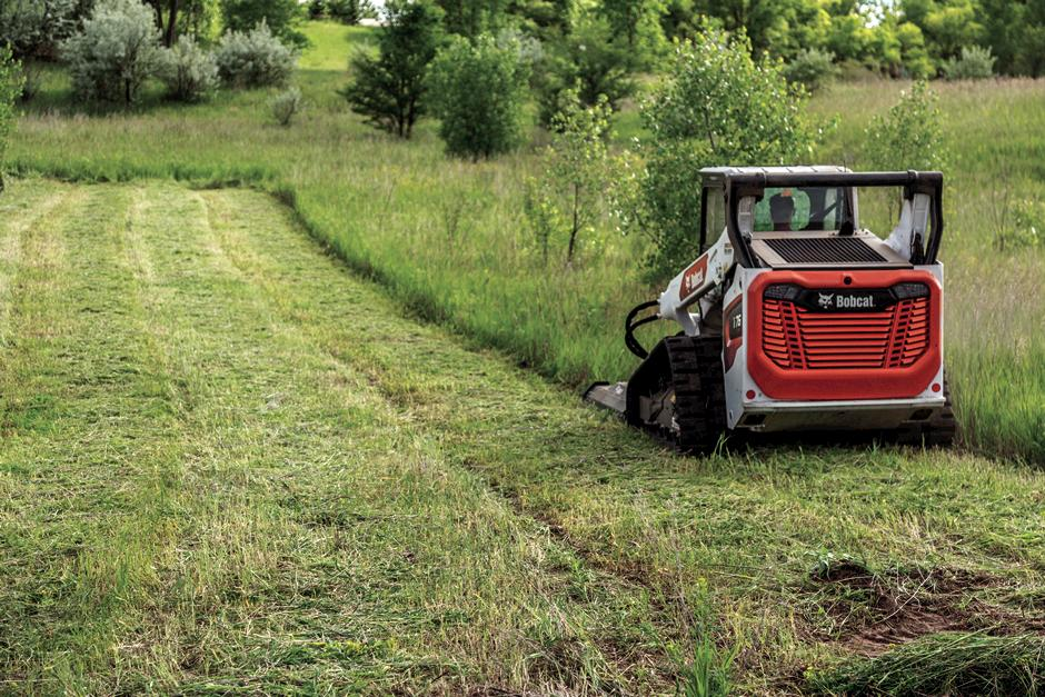 Compact Track Loader Clearing Brush