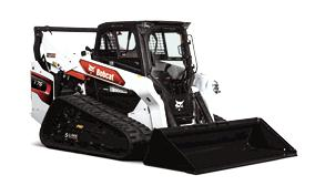 Bobcat T76 compact track loader with bucket attachment.