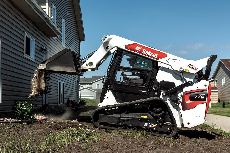 "Bobcat Owner Using Compact Track Loader On Jobsite"">)"