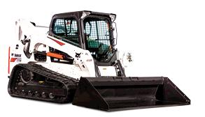 Bobcat T770 compact track loader with bucket attachment.