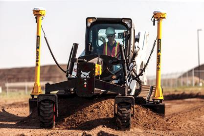 Bobcat T870 compact track loader with grader attachment and 3D ready system.