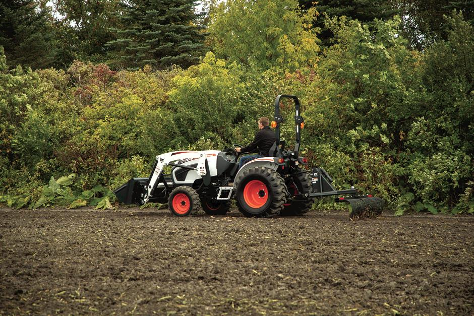 Bobcat Compact Tractor with 3-Point Tine Rake Implement