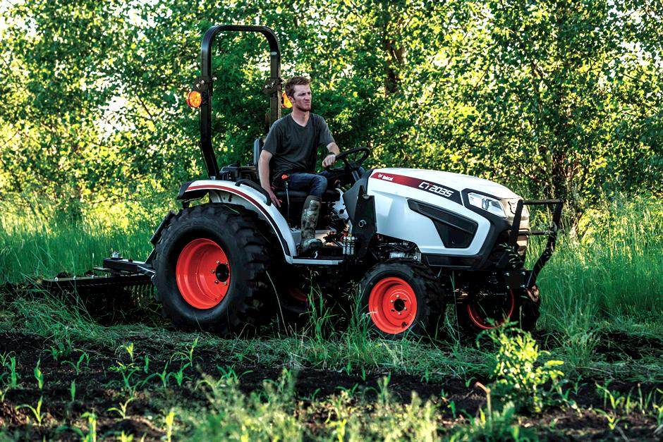 Bobcat Compact Tractor with Tine Rake.