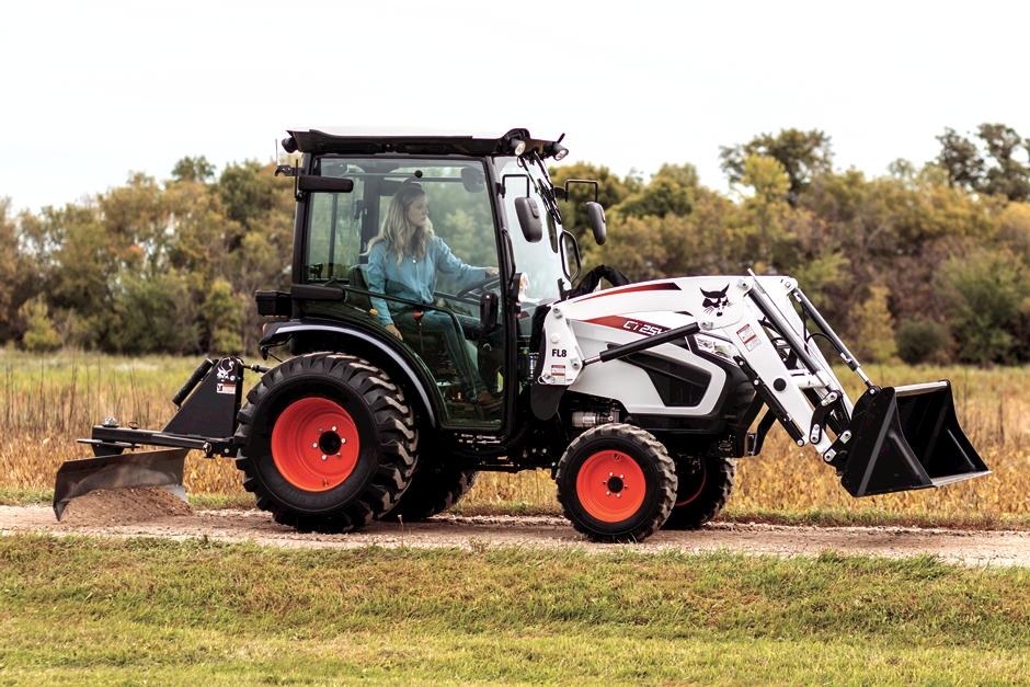 Woman Operating Bobcat CT2540 With 3 Point Angle Blade Implement