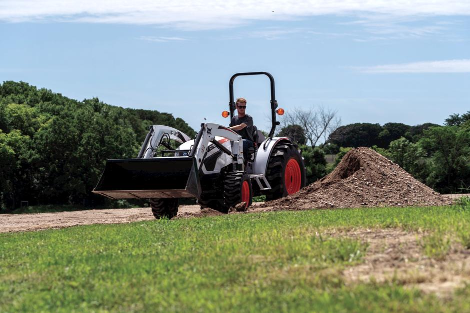 Bobcat Customer Uses Compact Tractor With Front-End Loader to Move Landscaping Material