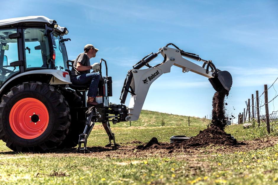 Operator Using Bobcat CT5555 Compact Tractor With Backhoe Attachment To Dig Hole Along Fence Line