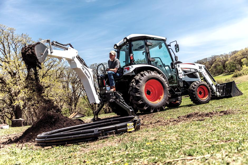 Operator Trenching For Utilities Using Backhoe Attachment On CT5555 Compact Tractor