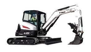Bobcat E35 mini excavator with pro clamp attachment.