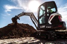 Bobcat E35 compact (mini) excavator with a bucket attachment and Pro Clamp system.