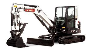 Bobcat E42 mini excavator with pro clamp attachment.