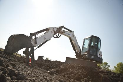 Bobcat E42 compact excavator (mini excavator) with clamp attachment.