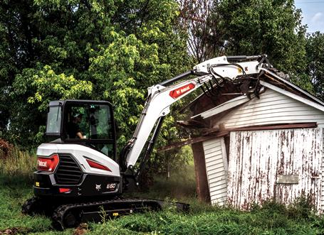 R2-Series E60 Mini Excavator Tackles Demolition Of An Outbuilding