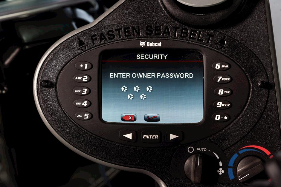Deluxe instrumentation displaying owner password entry screen.