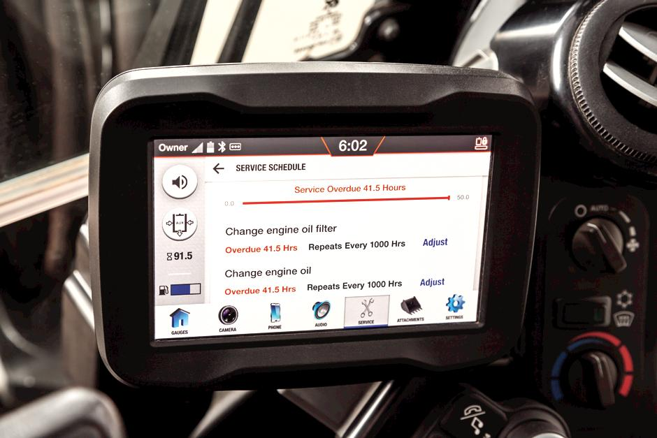 Touch Screen Displaying Oil Service Intervals Inside Bobcat Mini Excavator Cab