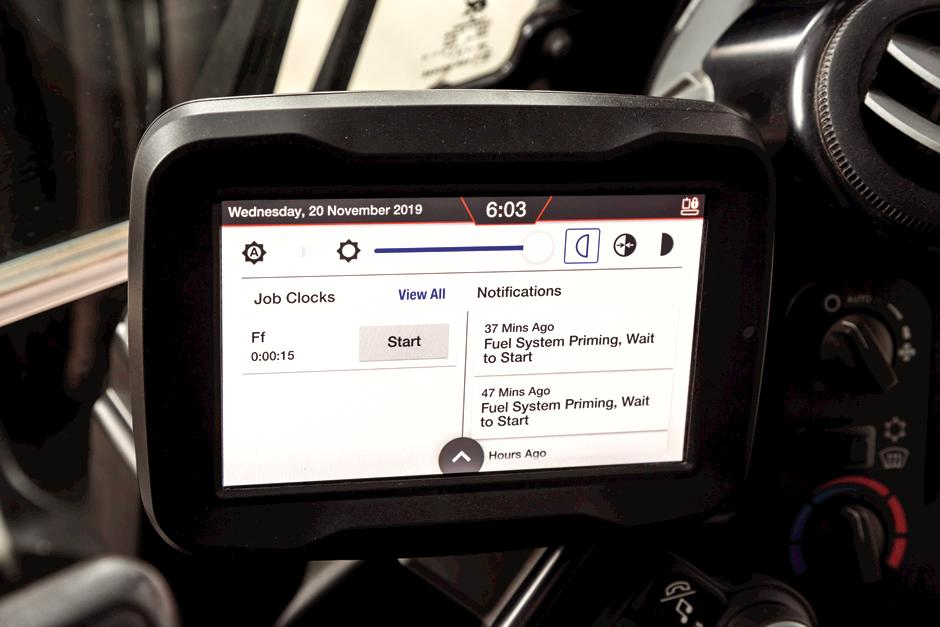 Job Clock On Touchscreen Display Inside Bobcat Mini Excavator
