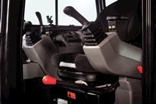 Bobcat compact (mini) excavator seat and joystick controls.