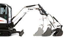 Bobcat compact excavator (mini excavator) arm configurations.
