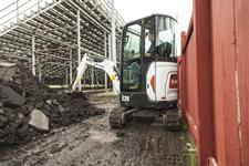 Alt Tag: Bobcat compact excavator (mini excavator) with zero tail swing.
