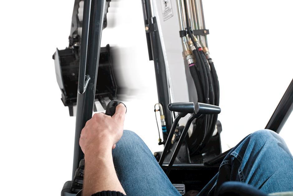 Bobcat compact excavator (mini excavator) ergonomic controls.