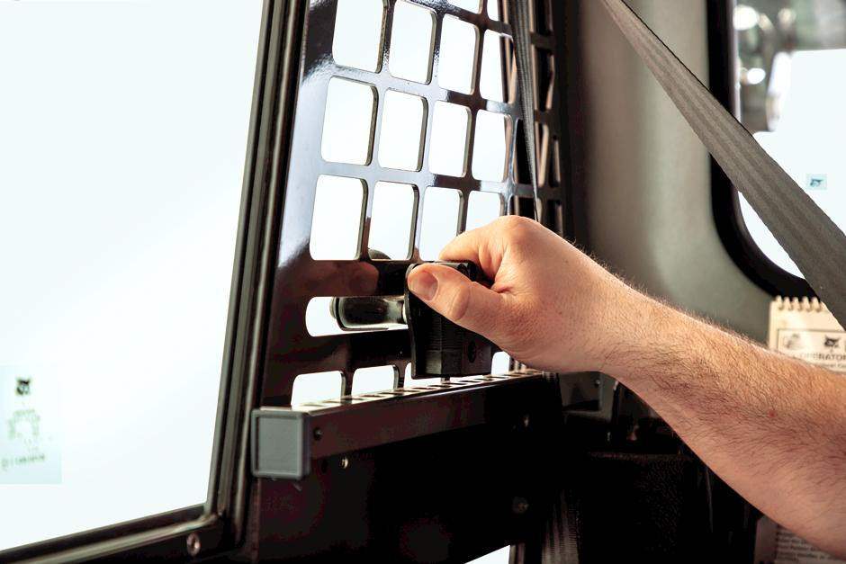 Operator Opening Window In R-Series Compact Track Loader Cab