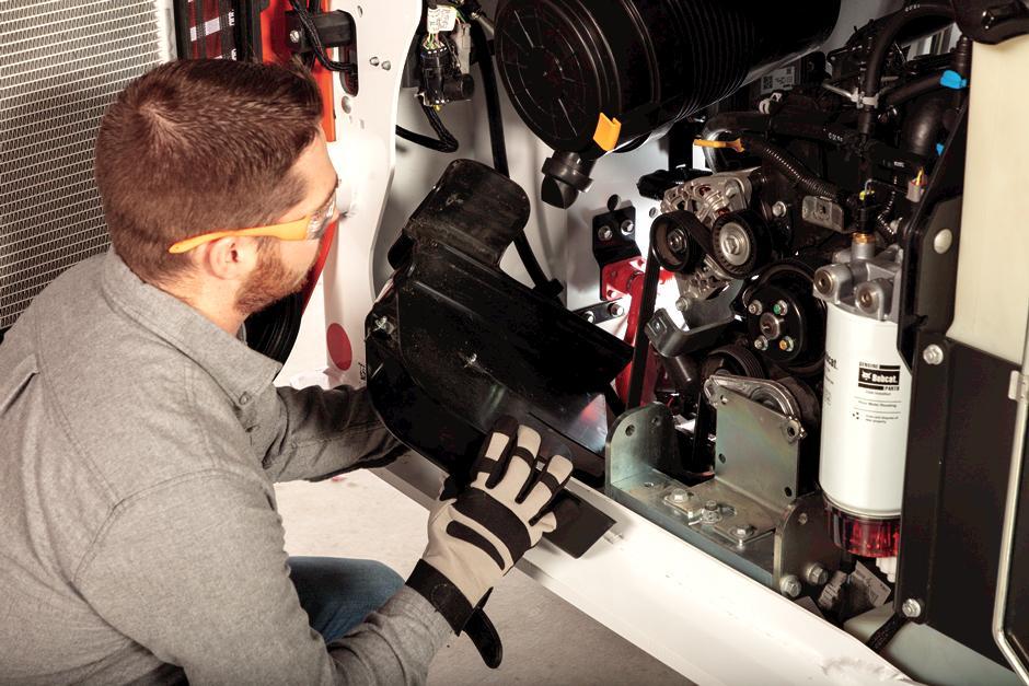 Owner Servicing Belts On Bobcat Compact Loader