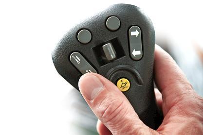 Bobcat compact track loader and skid-steer loader fingertip controls.