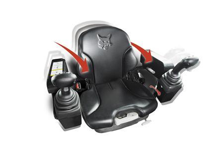 Bobcat compact track loader and skid-steer loader adjustable seat.