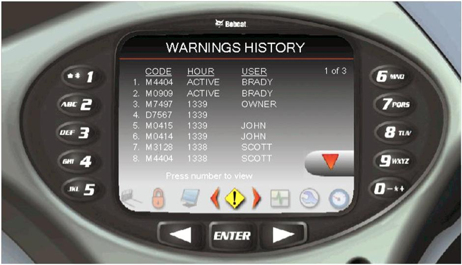 Service code history on Bobcat loader with Deluxe Instrument Panel.