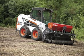 Bobcat Auger Attachment on the S550 Skid-Steer Loader