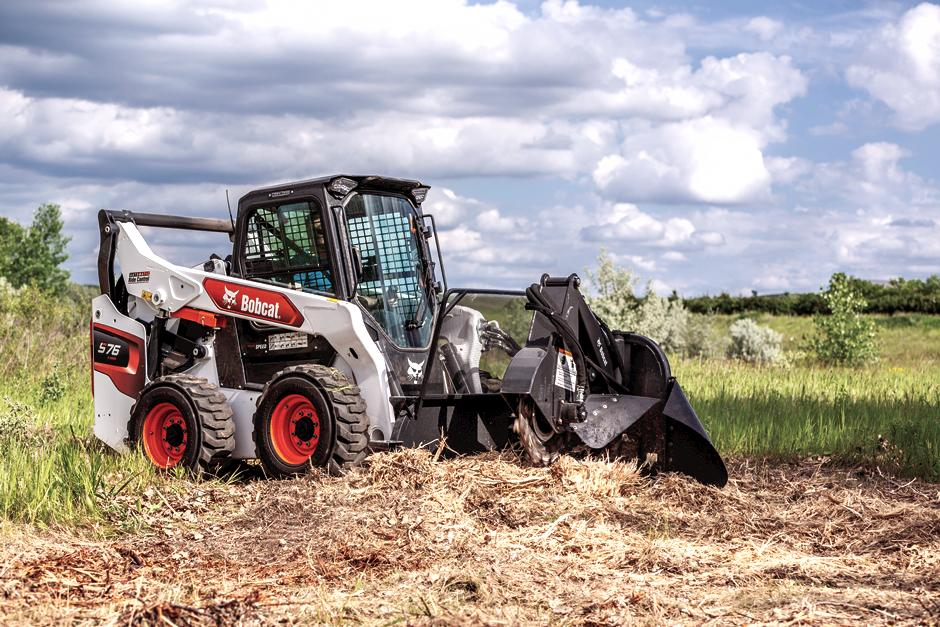 R-Series Skid-Steer Loader Demoing Construction Site With Nitrogen Breaker