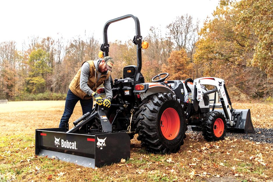 Professional Quarterback Carson Wentz Attaches A Box Blade Tractor Implement To His 2035 Bobcat Compact Tractor
