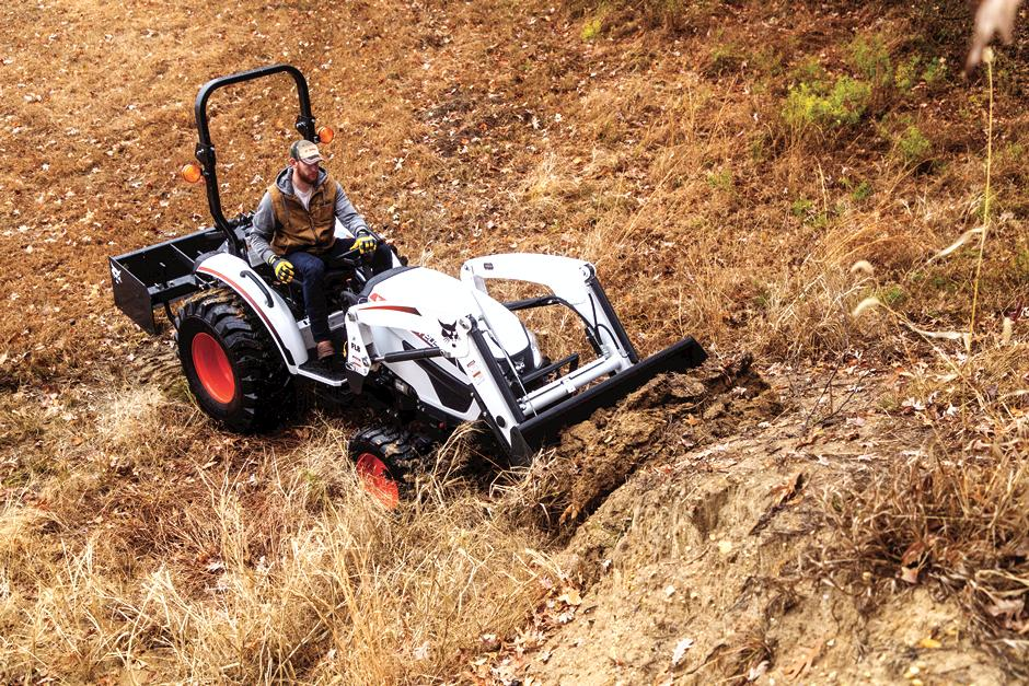 Professional Quarterback Carson Wentz Drives Uses Bobcat Compact Tractor To Maintain His Acreage With 3-Point Box Blade Implement And Front-End Loader Attachment