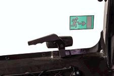 The Bobcat V519 VersaHANDLER telehandler has rear windows that open.