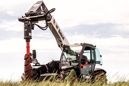 Bobcat V519 telescopic tool carrier with auger