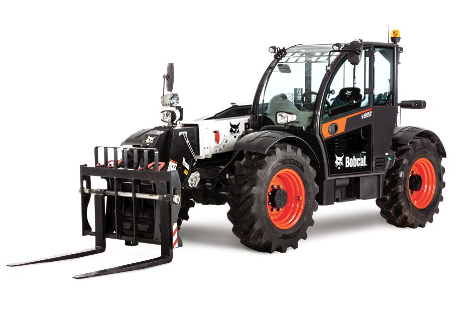 Front Angle Studio Image Of Bobcat V923 Telehandler With Pallet Fork Attachment.