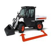 The wheelbase of the Toolcat utility work machine is shown through an annotated image.