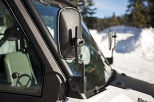 Rear view mirrors on Bobcat 3400 utility vehicle.