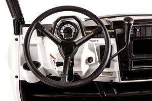 Close-up of steering wheel on Bobcat utility vehicles.