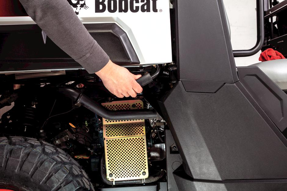 Bobcat Utility Vehicle (UTV) owner maintaining vehicle.