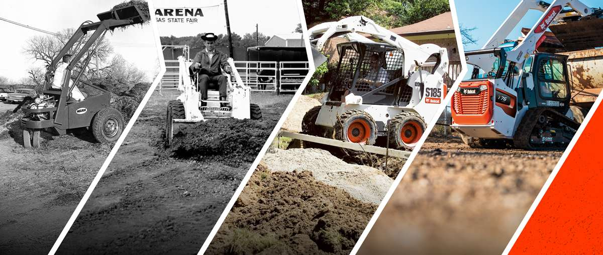 Multiple Photos Showing The Evolution Of Bobcat Loaders Through Time