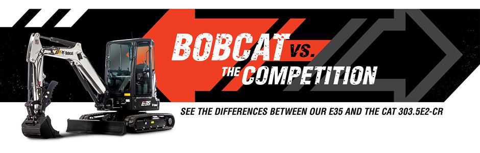 Bobcat E35 Mini Excavators Vs. CAT 303.5E2-CR Mini Excavator Competitive Comparison Intro Banner