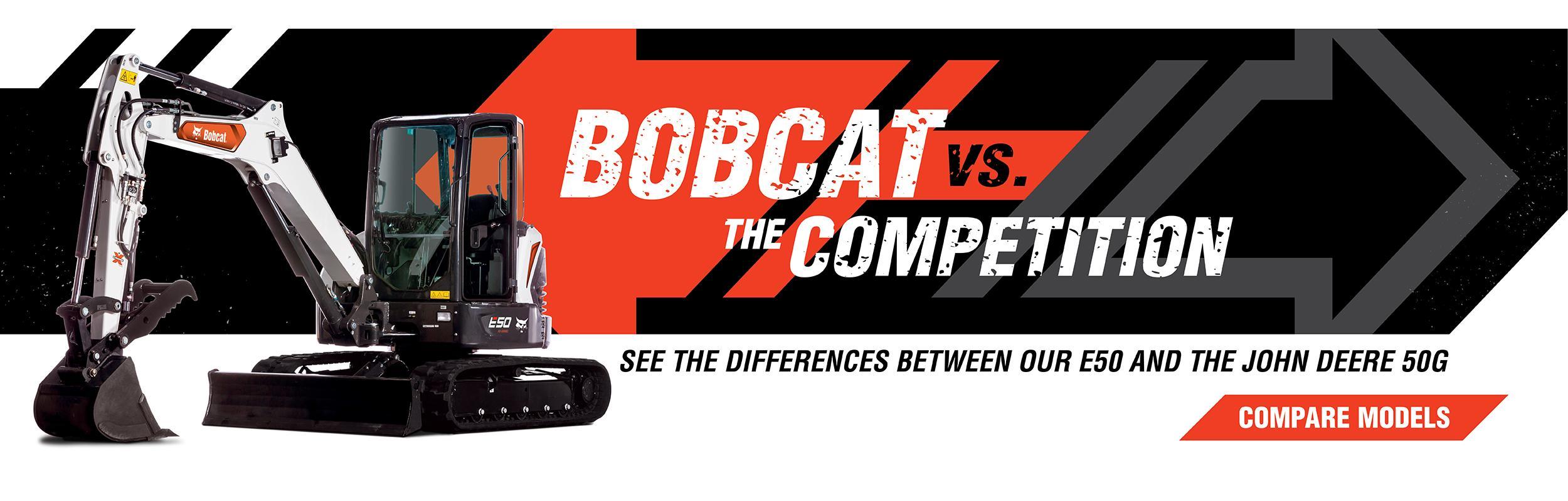 Bobcat E50 Mini Excavator Vs. John Deere 50G Compare Models Banner