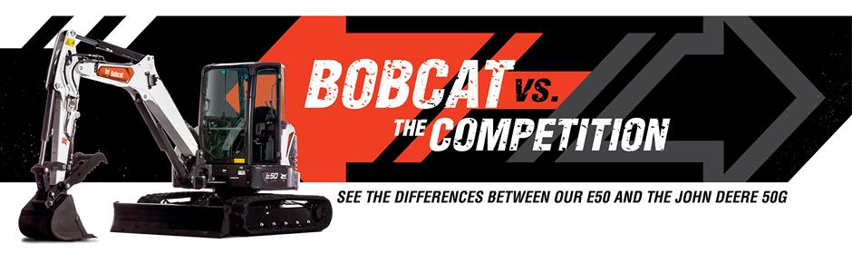 Bobcat E50 Mini Excavators Vs. John Deere 50G Excavator Competitive Comparison Intro Banner