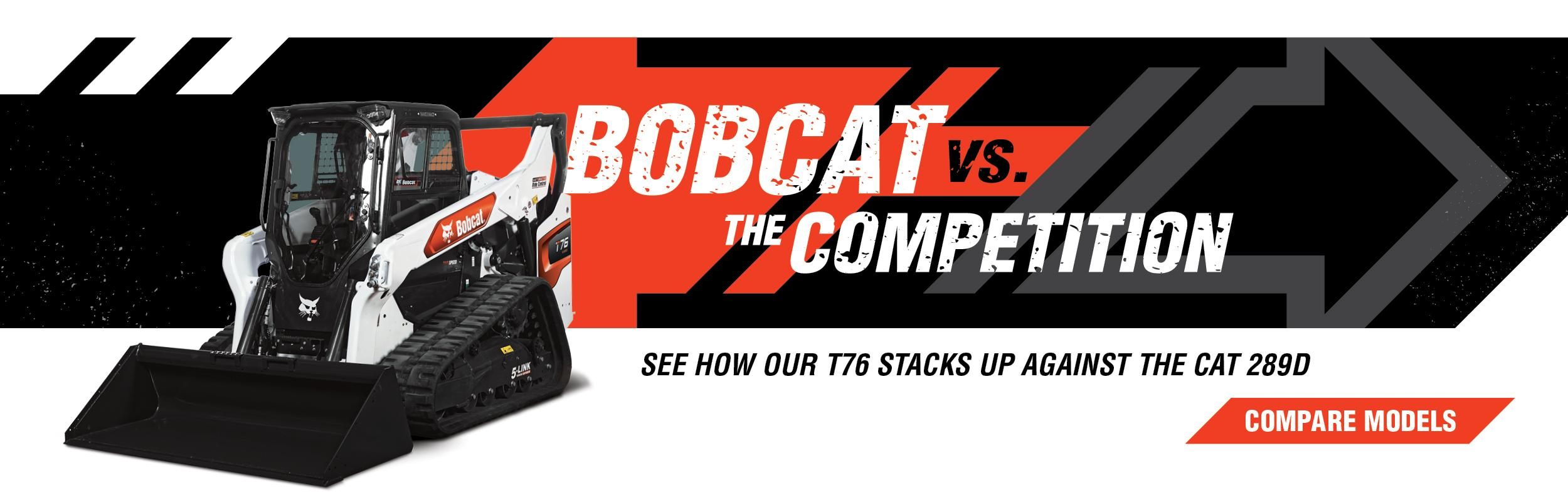 Bobcat T76 Compact Loader Vs. CAT 289D Compare Models Banner