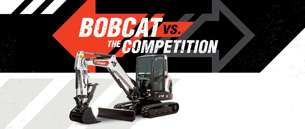 Bobcat Vs The Competition Graphic Featuring The E42 Compact Excavator Stufio Shot