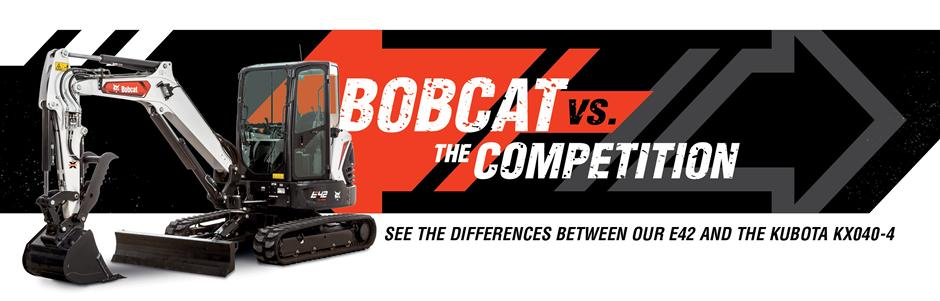 Bobcat E42 Mini Excavators Vs. Kubota KX040-4 Competitive Comparison Intro Banner