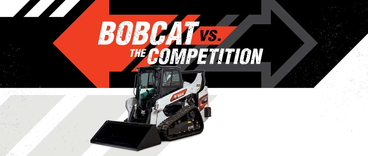 Bobcat T66 Compact Track Loade Knockout Image With Bobcat Vs. The Competition Graphic Background