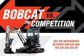 Bobcat E35 Vs. CAT 303.5E2-CR Mini Excavator Competitive Comparison Promotional Image