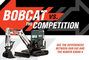 Bobcat E42 vs. Kubota KX040-4 Mini Excavator Competitive Comparison Promotional Image