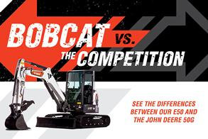 Bobcat E50 Mini Excavators Vs. John Deere 50G Excavator Competitive Comparison Promotional Image